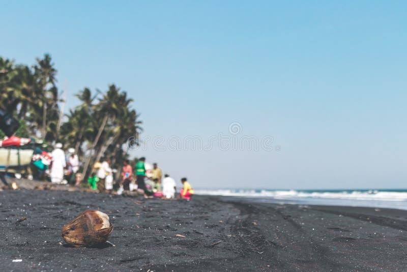 Coco seco viejo en la playa negra de la arena Ceremonia del Balinese en el fondo foto de archivo libre de regalías