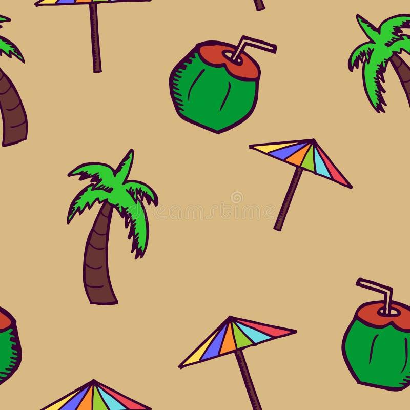 Coco tirado mão da garatuja, guarda-chuva, e teste padrão sem emenda da árvore Envolvimento do fundo do verão e cópia de matéria  ilustração do vetor