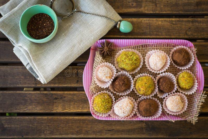 Cocoa balls in a tray royalty free stock photos