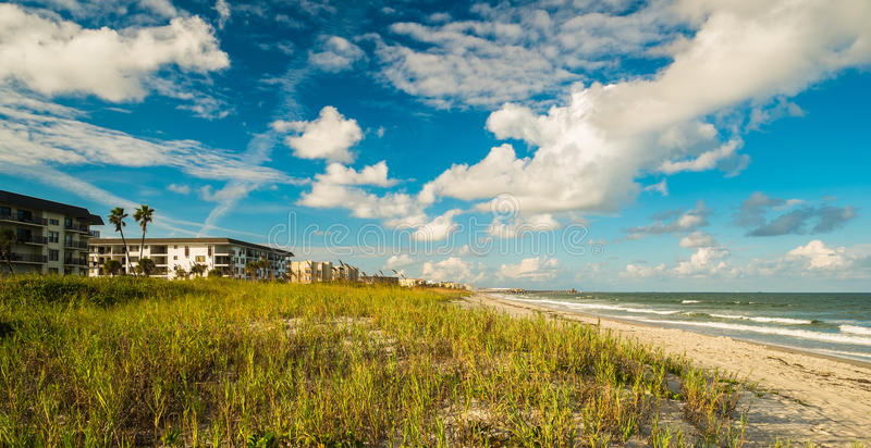 Cocoa Beach. Beautiful Cocoa Beach, Florida with blue sky and clouds stock photography