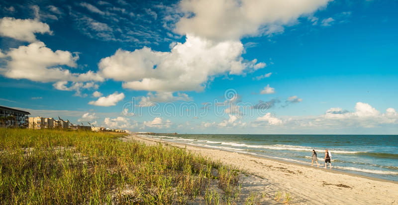 Cocoa Beach. Beautiful Cocoa Beach, Florida with blue sky and clouds royalty free stock photo