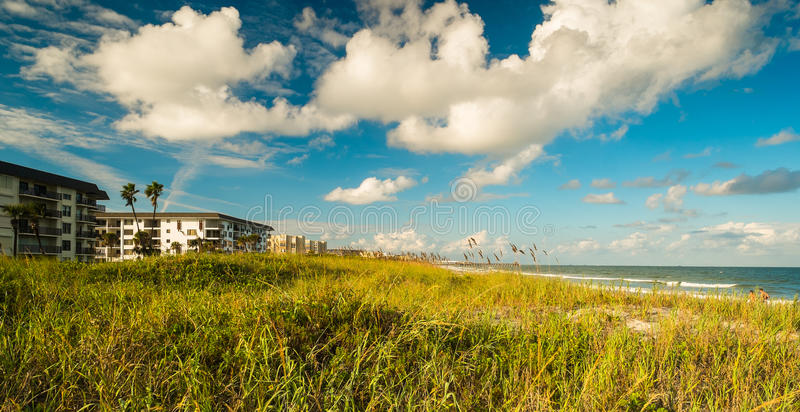 Cocoa Beach. Beautiful Cocoa Beach, Florida with blue sky and clouds royalty free stock photos