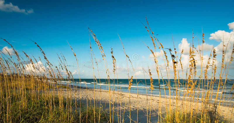 Cocoa Beach. Beautiful Cocoa Beach, Florida with blue sky and clouds stock photos