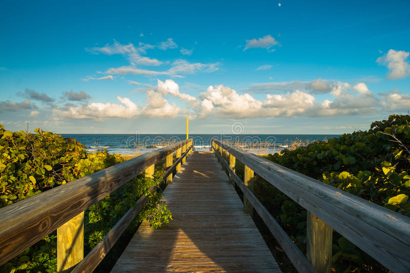 Cocoa Beach. Beautiful Cocoa Beach, Florida with blue sky and clouds stock photo