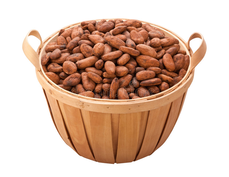 Cocoa Bean Basket (with clipping path). Isolated on a white background. Isolation is on a transparent layer in the PNG format royalty free stock photography