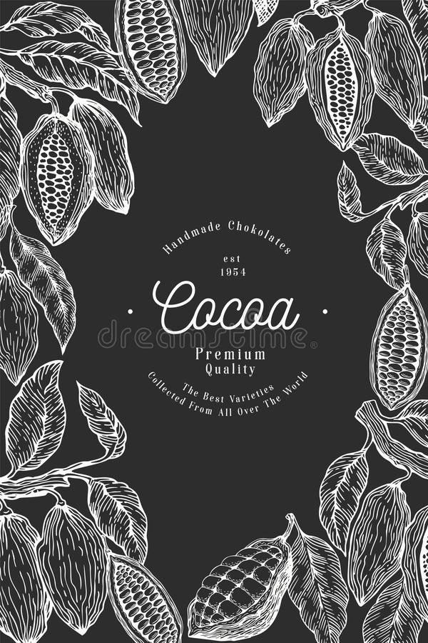 Cocoa bean tree banner template. Chocolate cocoa beans background. Vector hand drawn illustration on chalk board. Vintage style vector illustration