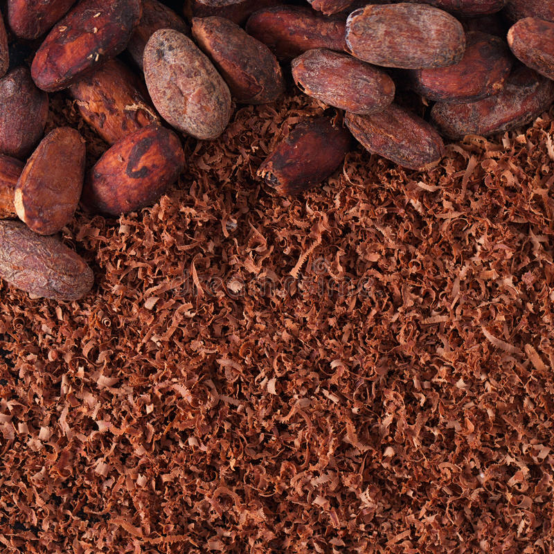 Download Cocoa Beans And Grated Chocolate Background Stock Image - Image: 31016785