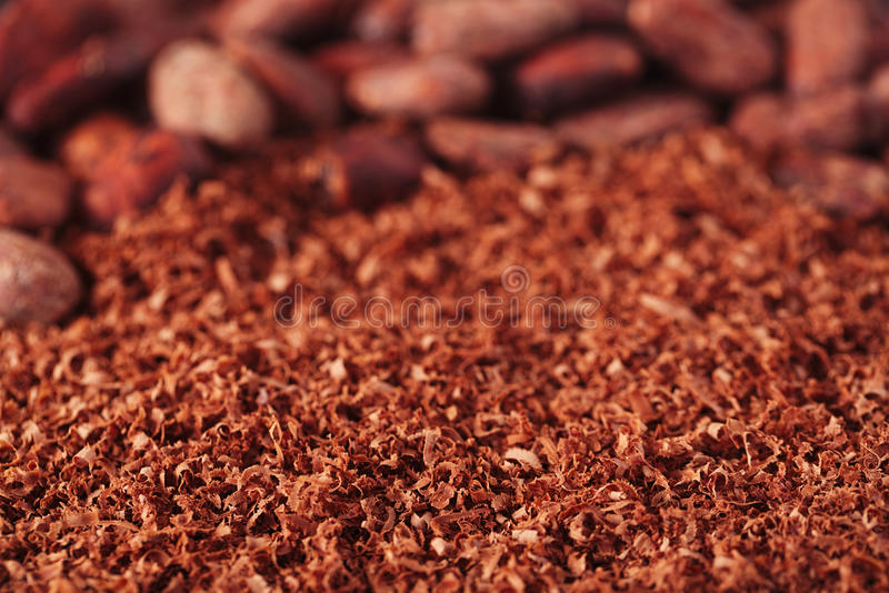 Download Cocoa Beans And Grated Chocolate Background, Shallow Dof Stock Image - Image: 31254355