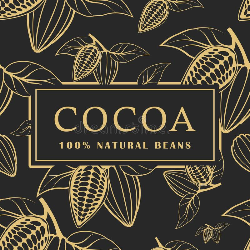 Cocoa beans with leaves on dark background. Seamless pattern. Vector illustration. stock illustration