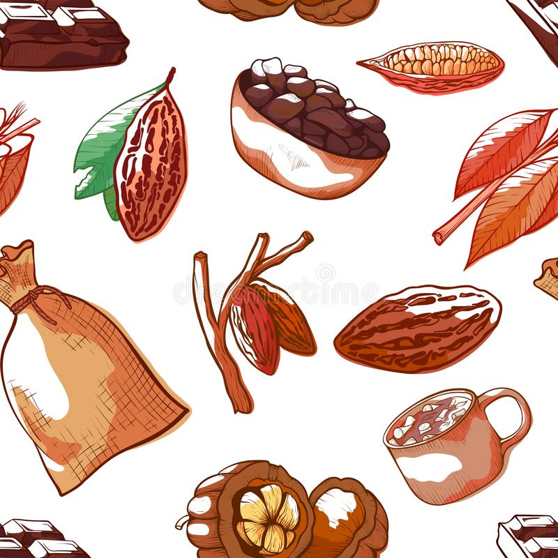 Cocoa beans vector hand drawn seamless pattern stock illustration