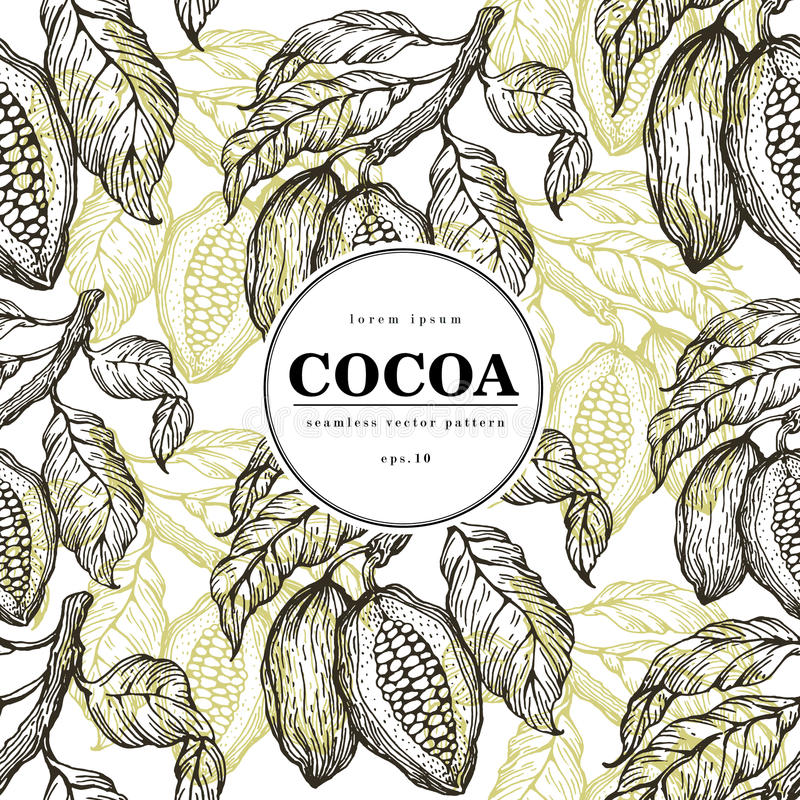 Cocoa beans vector seamless pattern. Engraved vintage style illustration. Chocolate cocoa beans. Banner template. royalty free illustration