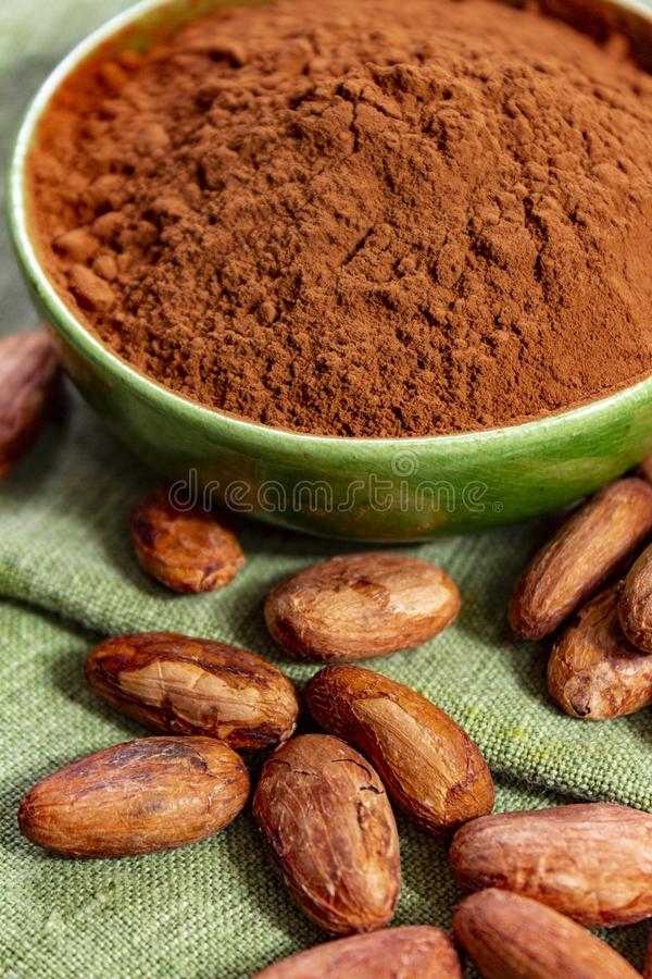 Cocoa or cacao beans and powder, used in hot chocolate drink, chocolate, butter and solids. Close up royalty free stock images