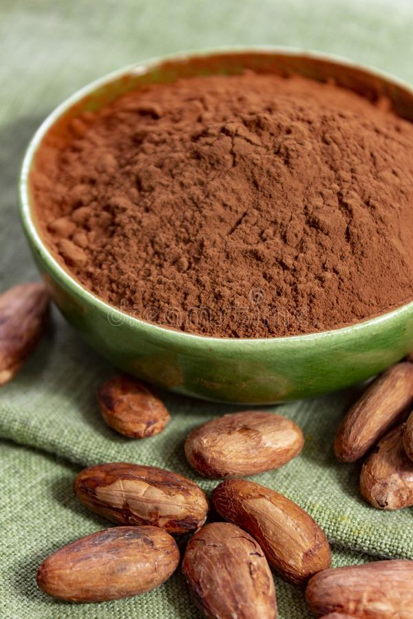 Cocoa or cacao beans and powder, used in hot chocolate drink, chocolate, butter and solids. Close up stock photos