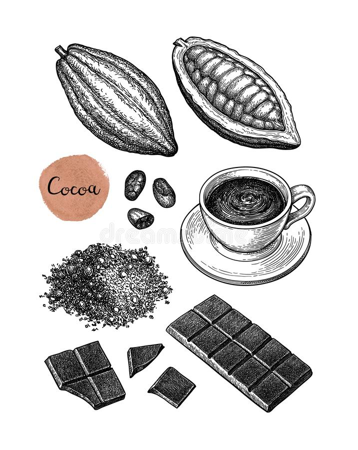 Cocoa and chocolate set. Ink sketch isolated on white background. Hand drawn vector illustration. Retro style stock illustration