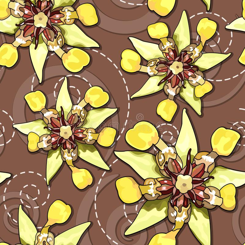 Cocoa flowers seamless texture stock illustration