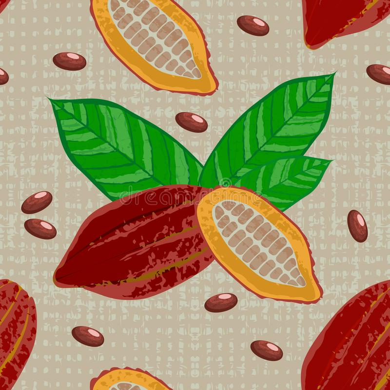 Cocoa fruits and leaves. Whole fruit, cut, cocoa beans. Chocolate. Grunge texture. Textile background. Seamless Pattern. Cocoa fruits and leaves. Whole fruit vector illustration