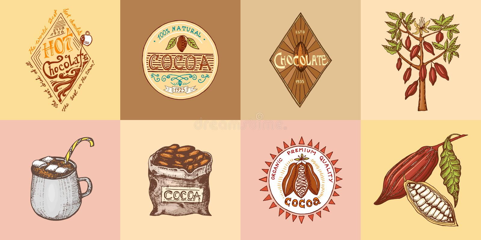 Cocoa and hot chocolate logos. modern vintage badges for the shop menu. Vector illustration. calligraphy style for. Frames, labels. . engraved hand drawn in old vector illustration