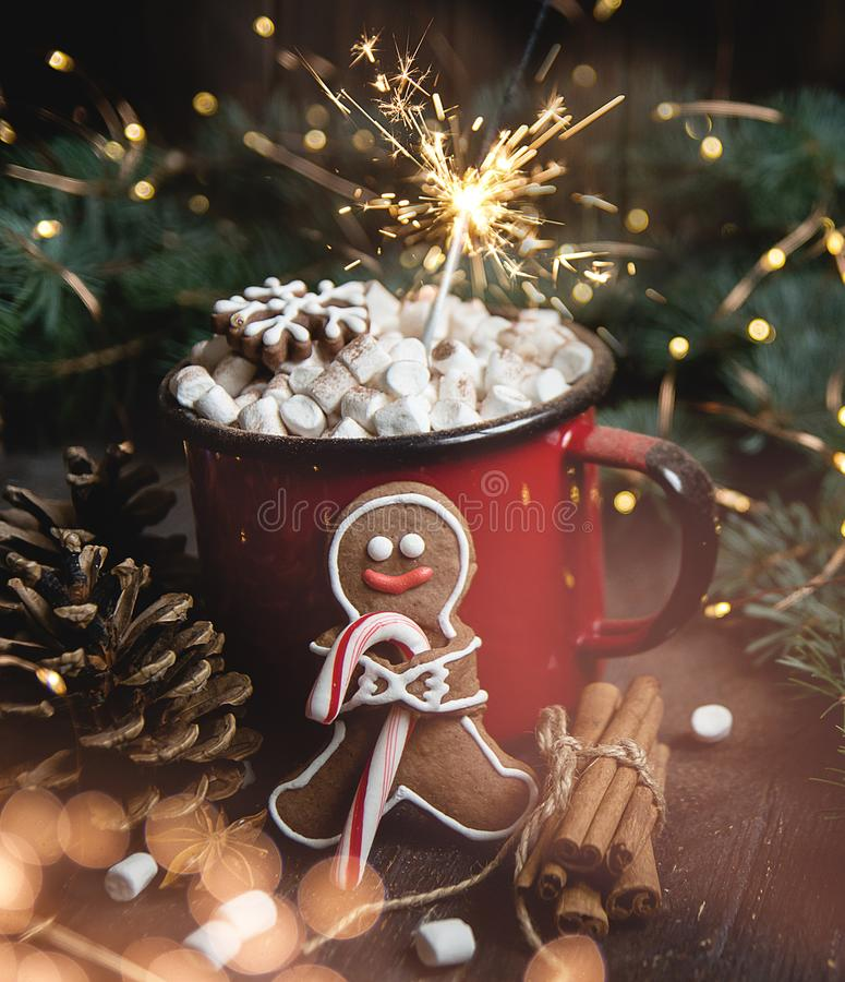 Cocoa or hot chocolate with marshmallow on rustic table. Christmas or New Year composition. Gingerbread man with candy cane. Close view of marshmallow in red royalty free stock photography