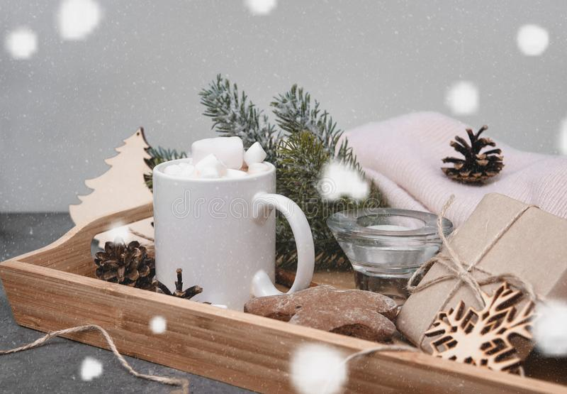 Cocoa, hot chocolate with marshmallows , spruce branch, cookies, cones, gingerbread man, candle, snowflakes stock photos