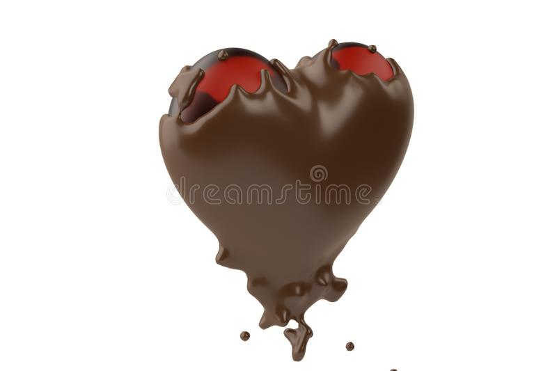 Cocoa liquid wrapped in red heart.3D illustration. royalty free illustration