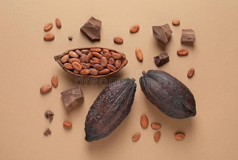 Cocoa pods with beans and chocolate pieces on light brown stock images