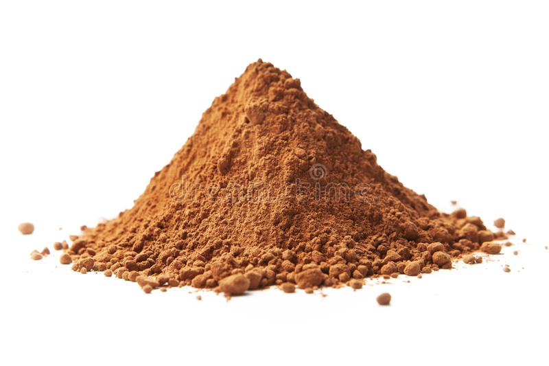 Cocoa powder. On white stock photography