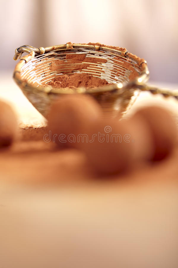 Cocoa Powder In Old Rustic Style Silver Sieve Royalty Free Stock Photo