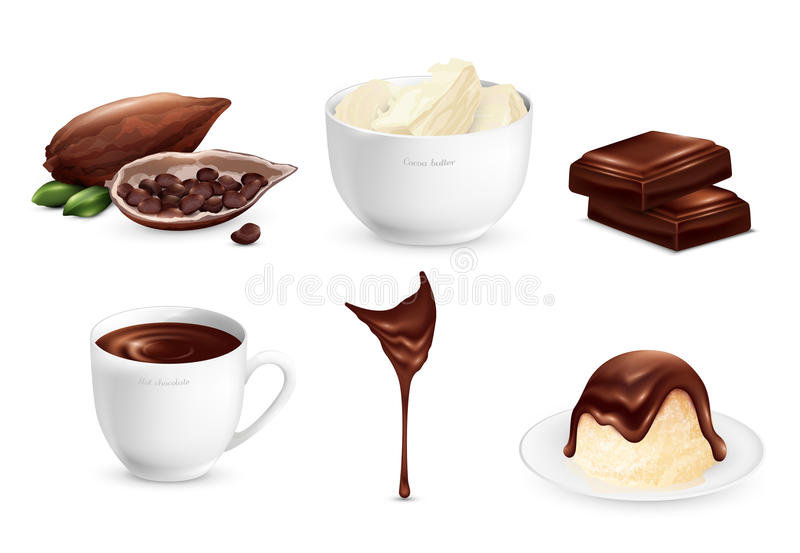 Cocoa Products Set vector illustration