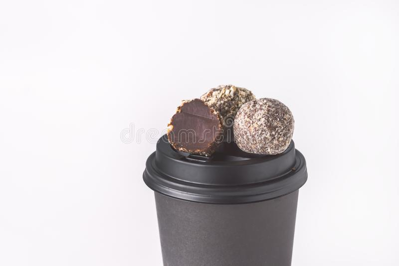 Cocoa Truffles and Coffee on Rustic Background TonedCopy Space royalty free stock images