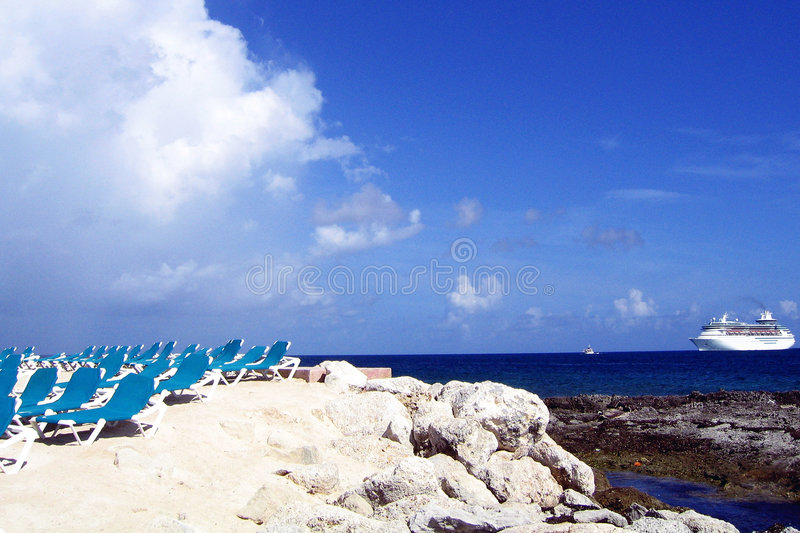 Cruise ship in blue sea royalty free stock image