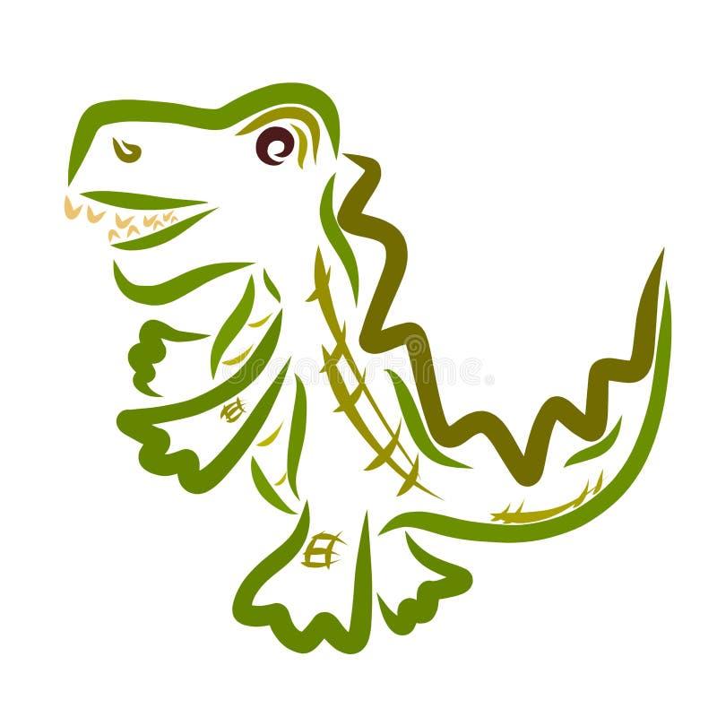 Cocodrilo alegre corriente divertido, bosquejando en Líneas Verdes ilustración del vector