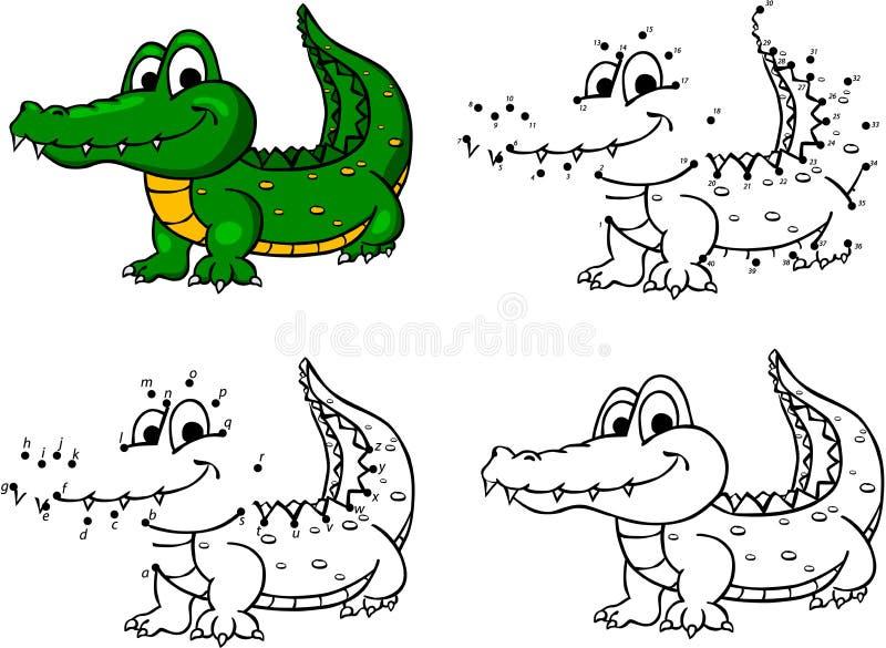 Cocodrilo de la historieta Ilustración del vector Colorante y punto a puntear stock de ilustración