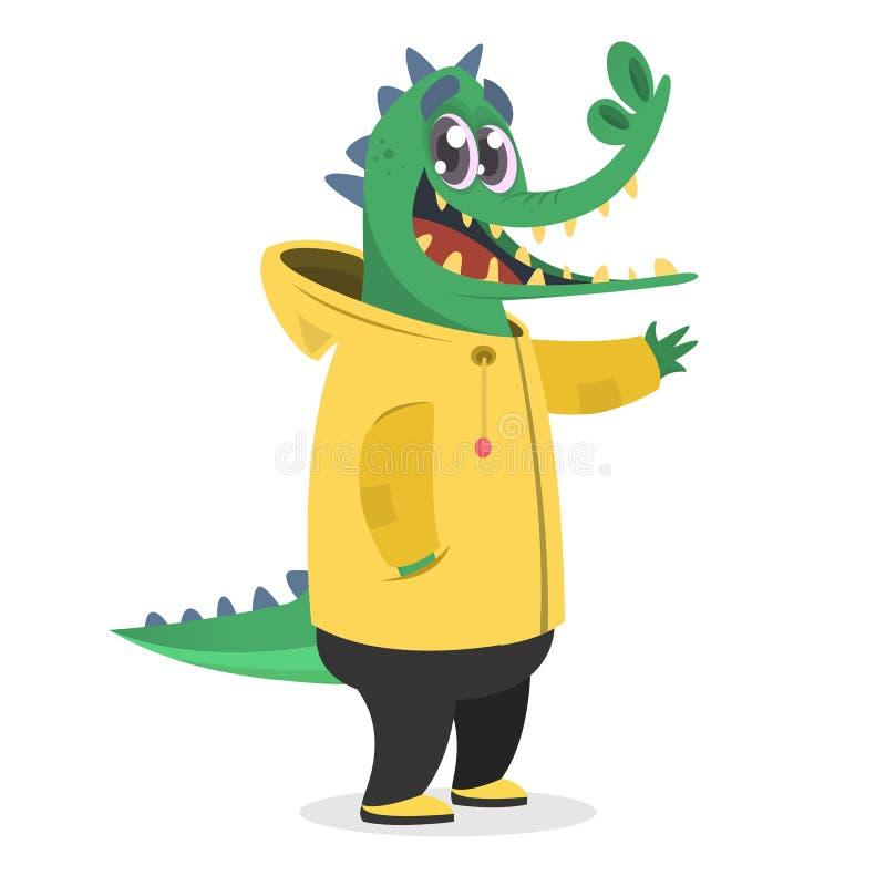 Cocodrilo del inconformista de la historieta en una capa de lluvia amarilla Animal en ropa Estilo ocasional Ilustración del vecto stock de ilustración