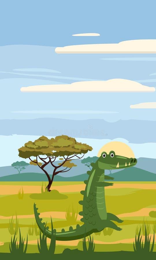 Cocodrilo en el fondo del paisaje africano, sabana, estilo de la historieta, ejemplo del vector stock de ilustración