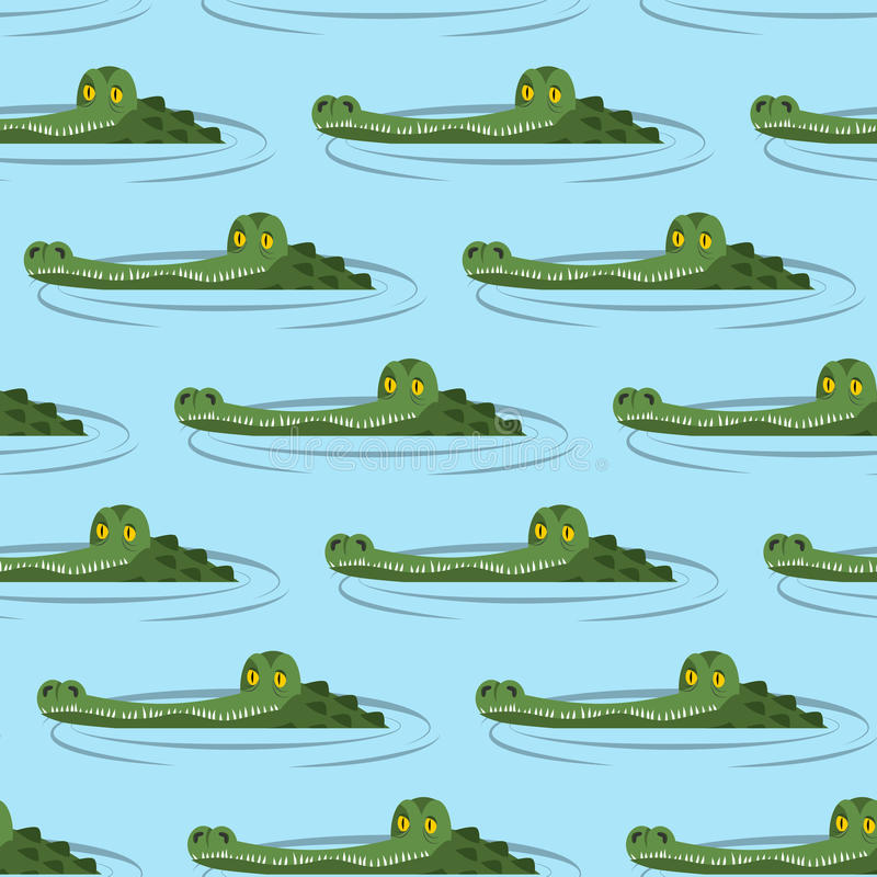 Cocodrilo en modelo inconsútil del agua ilustración del vector