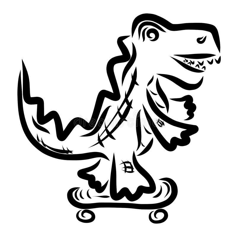 Cocodrilo fresco que patina en un monopatín, animales divertidos ilustración del vector