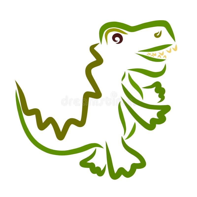 Cocodrilo o dinosaurio que camina verde divertido, animal stock de ilustración