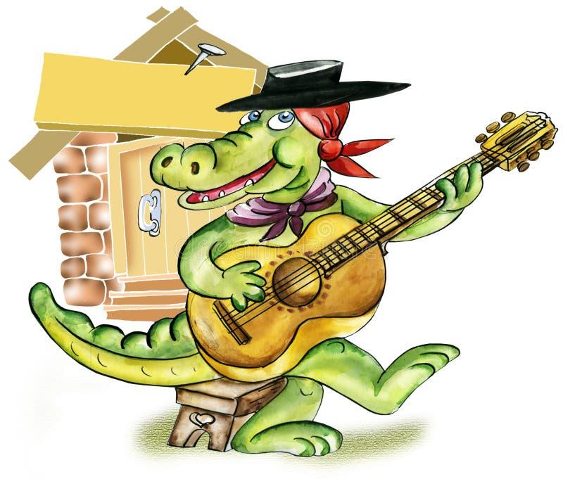 Cocodrilo que toca la guitarra stock de ilustración