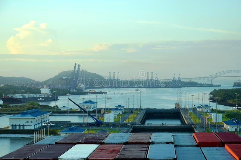 Cocoli锁环境美化,巴拿马运河 库存图片