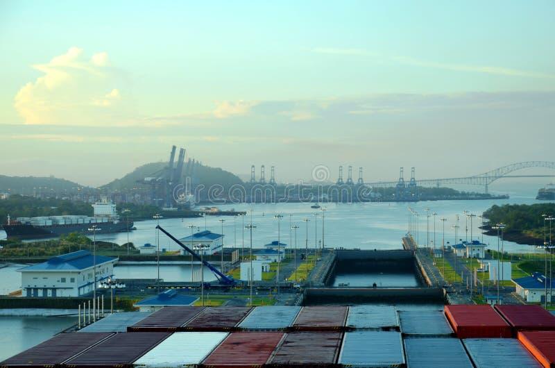 Cocoli sluit landschap, het Kanaal van Panama stock afbeeldingen