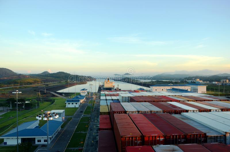 Cocoli trava a paisagem, canal do Panam? foto de stock royalty free