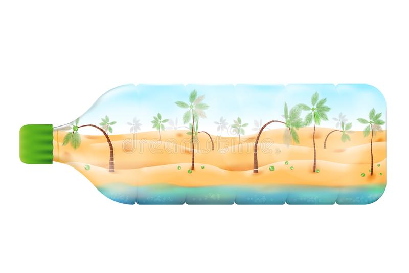 Coconut beach with  day light concept vector illustration