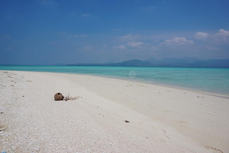 Coconut on The Beach. The name of this beautiful beach is Gili Noko. An small island inside the administrative island of Bawean, East Java, Indonesia stock image