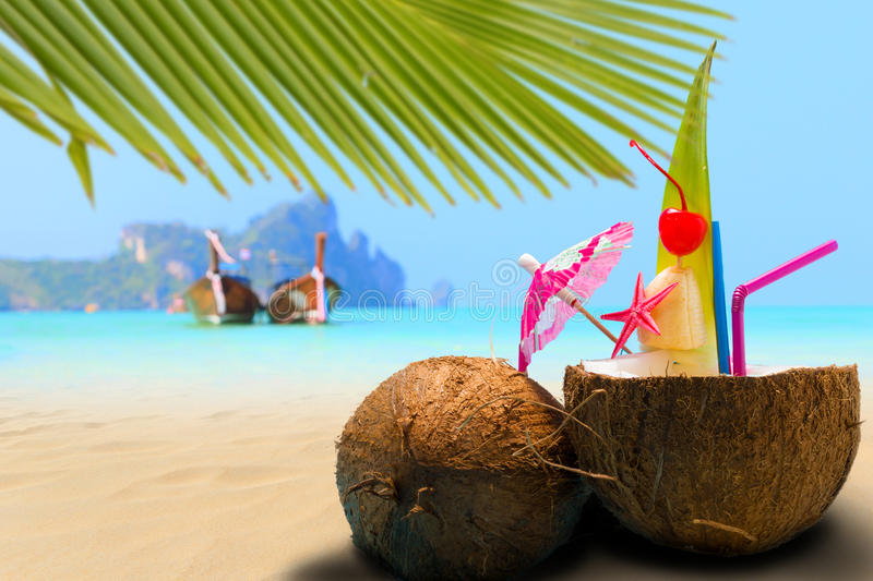 Coconut on the beach in Phi Phi island royalty free stock photos