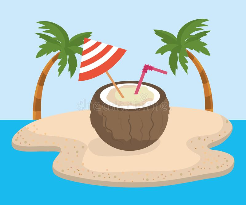 Coconut beverage with umbrela decoration and palms trees. To summer time vector illustration royalty free illustration