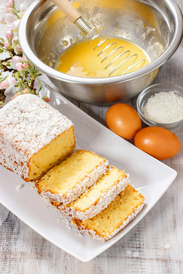 Coconut cake. Festive and party dessert royalty free stock photos