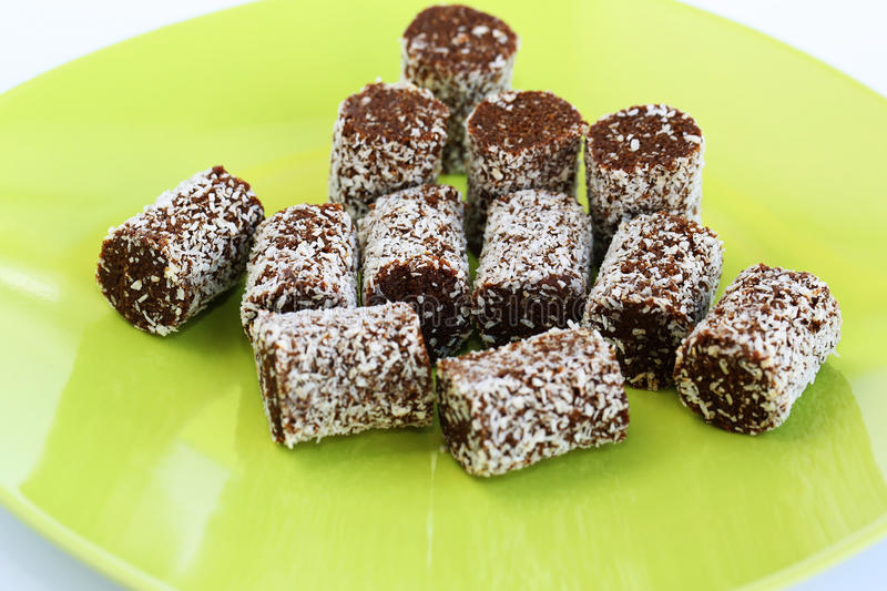 Coconut and chocolate candies royalty free stock image