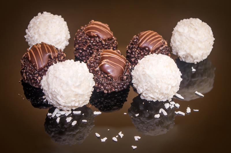 Coconut chocolates selection pralines delicious tasty Swiss sweets stock photography