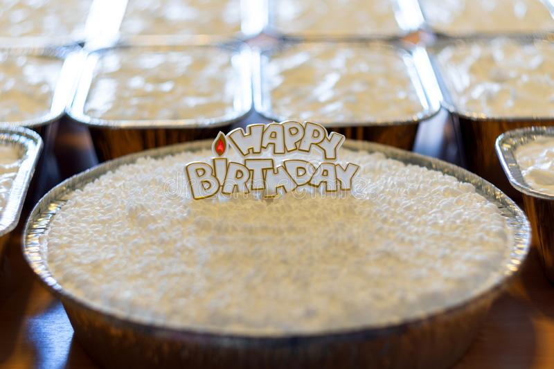Coconut cloud cake and sweet,happy birthday. Coconut cloud cake and sweet, happy birthday studio shot royalty free stock photography