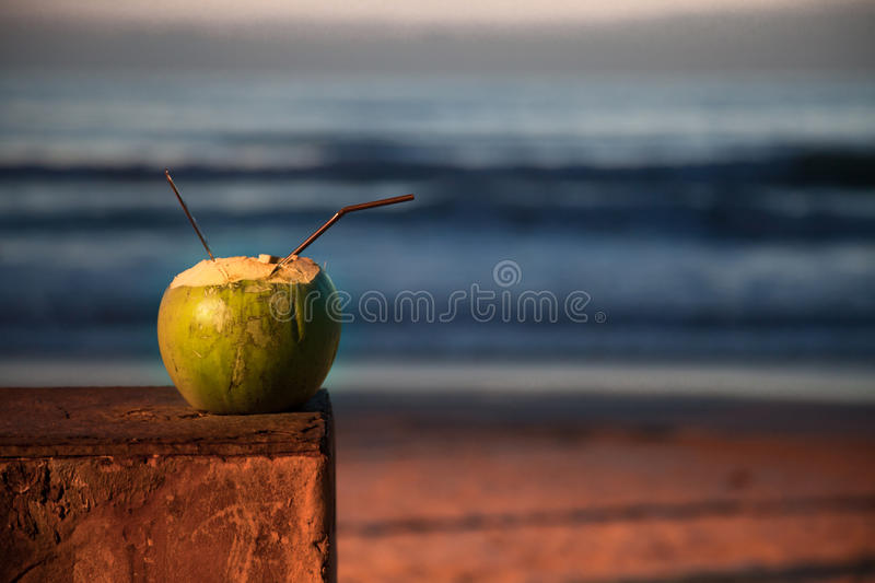 Coconut cocktail on a background sunset . Cocktail in a coconut on a background of sea sunset stock images